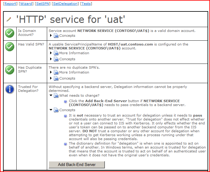 HTTP service for UAT status