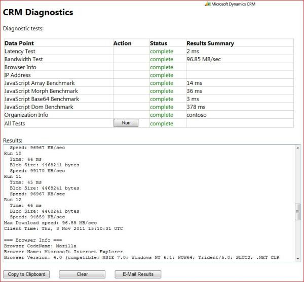 CRM 2011 Client Diagnostics Tool